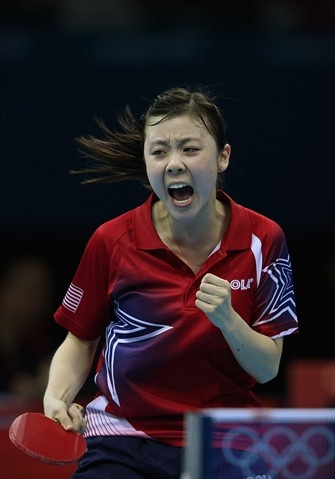 Ariel Hsing of the United States celebrates winning her Women's Singles second round match against Lian Xia Ni of Luxembourg on Day 2 of the London 2012 Olympic Games at ExCeL on July 29, 2012.