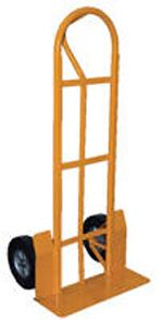 "Heavy Duty Steel ""P"" Handle Hand Truck-Dollies. The ""P"" style hand trucks are ideal for transporting heavy and awkward loads. These trucks work well for the user that needs to free up one hand. The ""P"" shaped handle makes the truck easy to steer and maneuver. Specs: overall size 22""W x 19""D x 52""H ; nose plate 22""W x 7""D; capacity 500lbs.; galvanized finish. Available with hard rubber and pneumatic wheels."