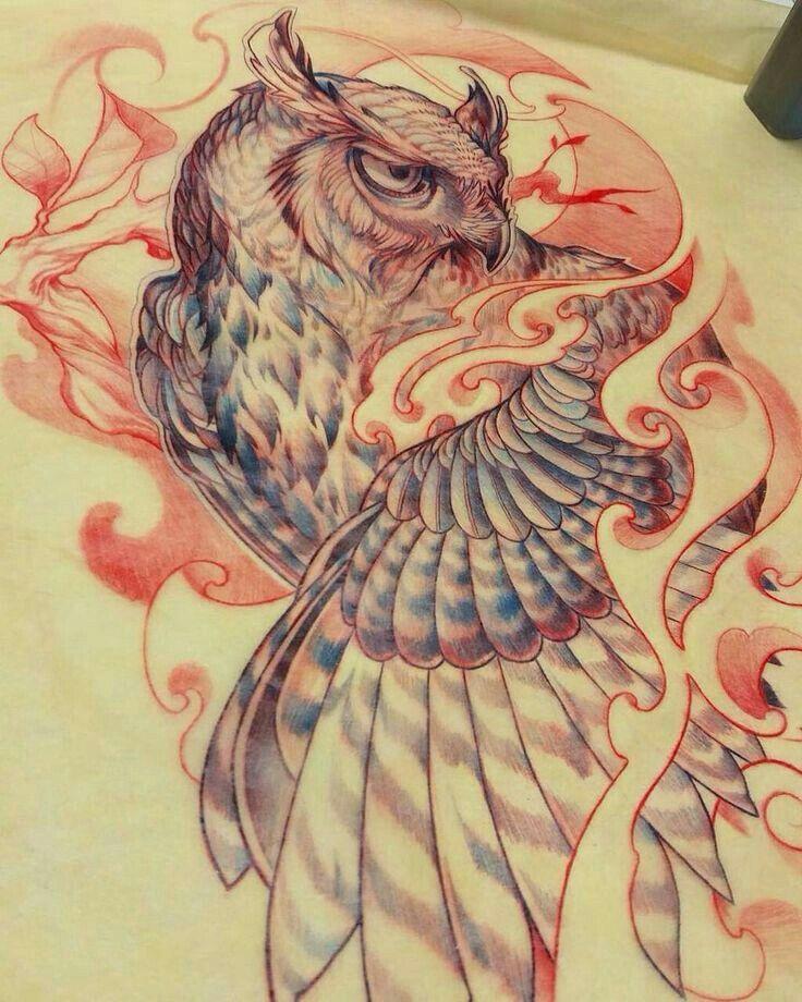 Pin By Ashlee Manila On Neo Japanese Tattoo Owl Tattoo Drawings Owl Tattoo Design Owl Tattoo