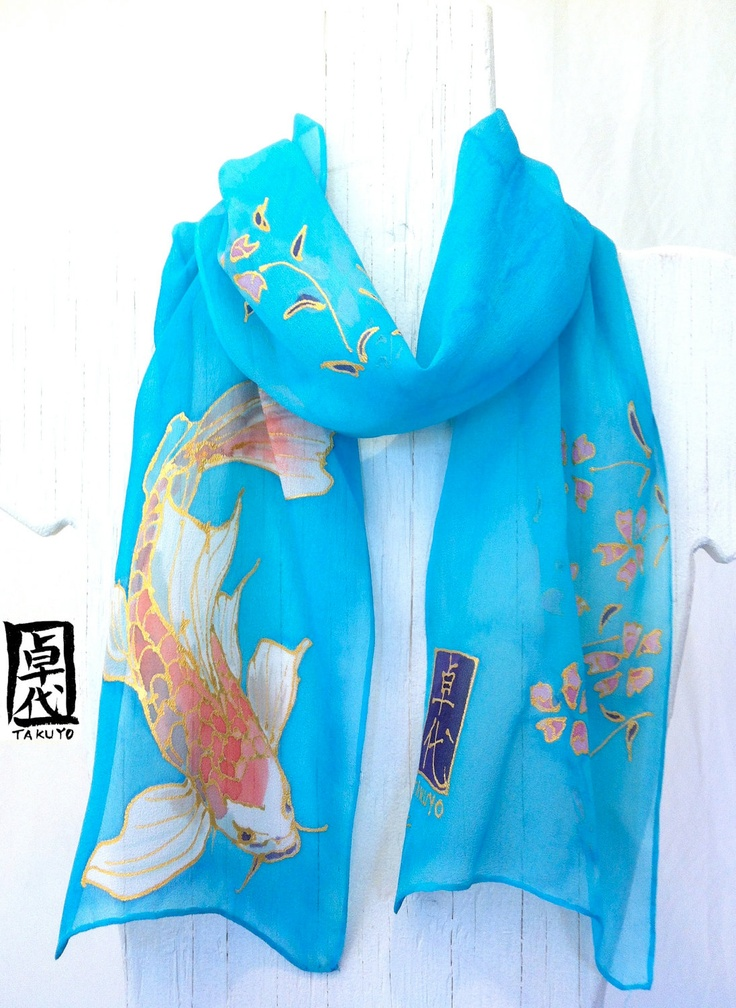 Silk Scarf. Hand Painted. Chibi Kimono Silk Scarf Koi Scarf. Silk Scarves Takuyo. Blue Silk Scarf Japanese. Silk Chiffon. Silk Dye. 7x50 in.. $48.00, via Etsy.