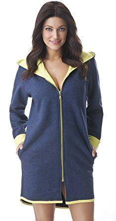 DOROTA eleganter Bademantel mit zarter Kapuze, Seitentaschen und Reißverschluss aus 100% Baumwolle, marine/gelb, Gr. XL