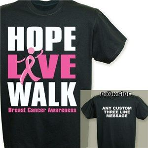 Hope Love Walk T-Shirt | Personalized Breast Cancer Walk T-Shirt