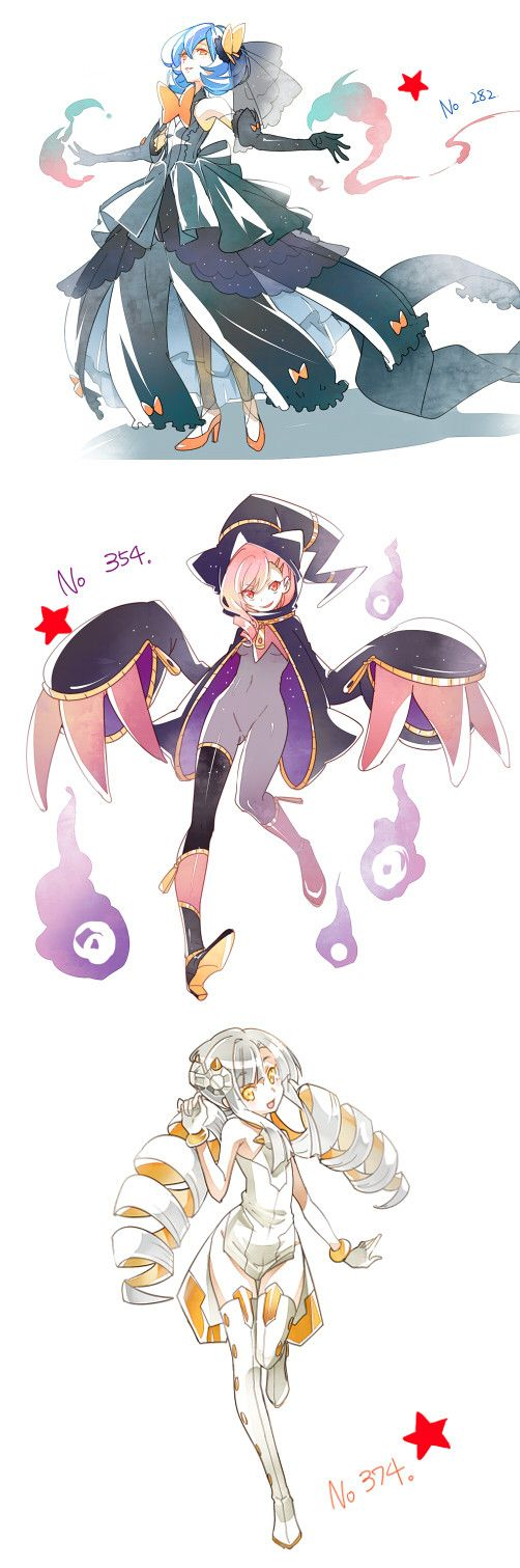 3girls alternate_color banette beldum blue_hair character_request gardevoir grey_hair hat high_heels highres mega_pokemon multicolored_hair multiple_girls numbered personification pink_hair pokemon pokemon_(game) shiny_pokemon shuri_(84k) twin_drill two-tone_hair witch_hat