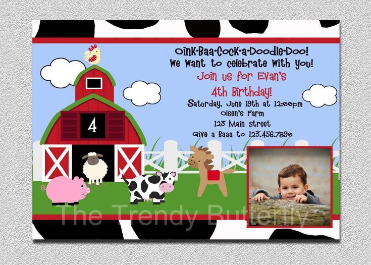 Farm Animals Birthday Invitation Farm Animal Barnyard Birthday Party Invitation Printable Invitation Boys or Girls. $15.00, via Etsy.