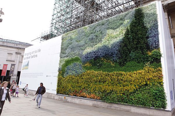 Living wall homage to van Gogh, a recreation of A Wheatfield, with Cypresses in Trafalgar Square, London - comprised of 8,000+ plants, 2011 // The National Gallery