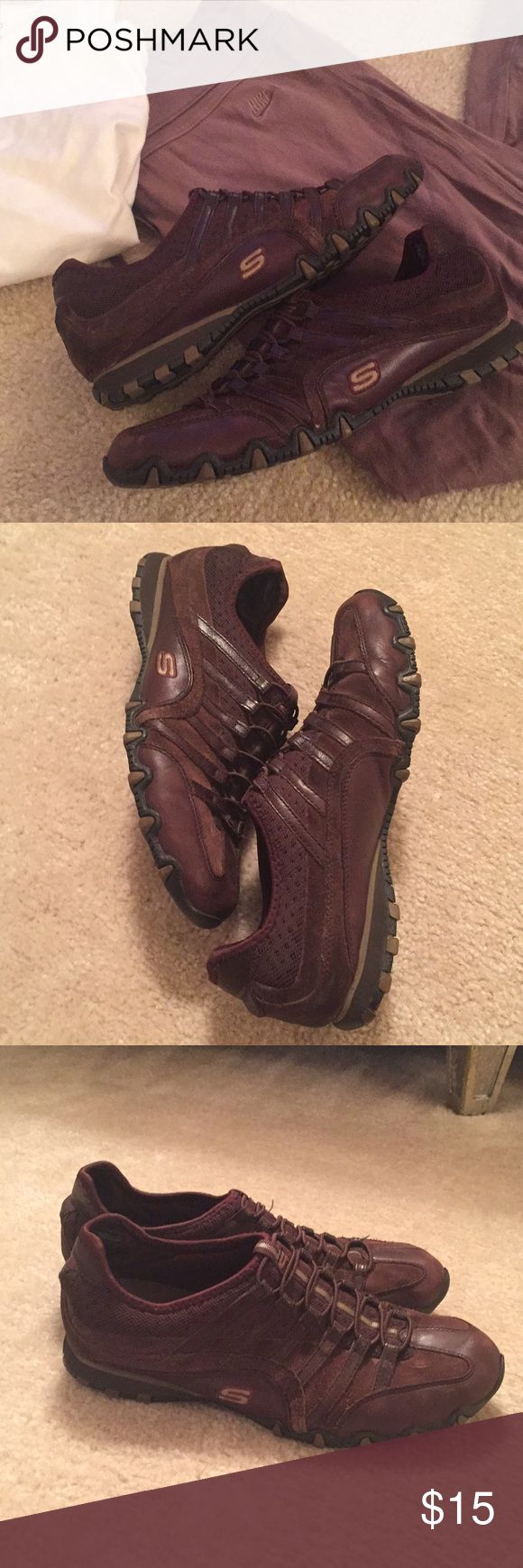 Sketchers Sneakers - Brown 👟 OFFERS WELCOME! 💐  Comfy chocolate brown sneakers that you can just slip on and go. They're barely used so are in good condition. Great for walking and running errands. I have this exact pair in black that I wear all the time so these little brown cuties just don't get used. Skechers Shoes Sneakers