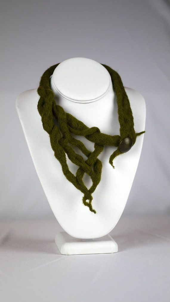 Olive Hanging Moss Felted Necklace $56 by CorbeauxPDX on Etsy