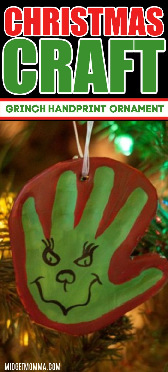 Grinch Hand Print Ornament Handprint Ornaments Christmas Decorations Diy For Kids Clay Ornaments
