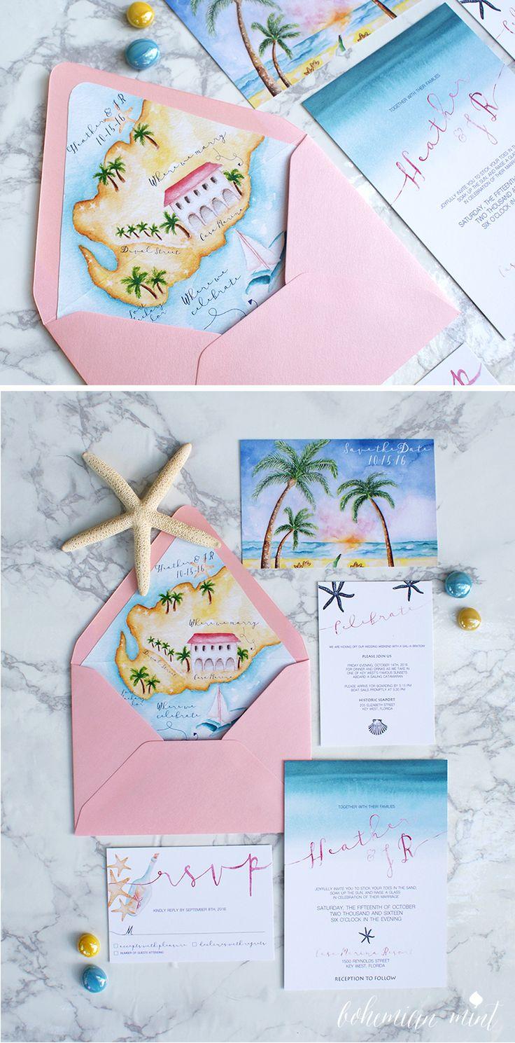 Watercolor beach wedding invitations with a custom handpainted beach wedding map | Bohemian Mint watercolor wedding invitations