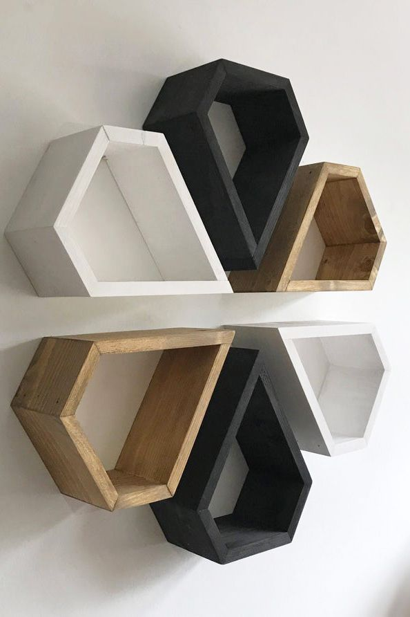 6 Diamond Shelves Wood Wall Art Shelf Set Box Shelf Etsy Art Shelves Wall Shelves Design Box Shelves
