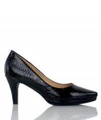 Sassy - Women's gloss black crocodile mid heels  $99.00  #shoeenvy #shoes #fashion #instalove #pretty #ethical #glamorous