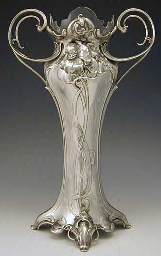 Art Nouveau vases, Germany, 1906.: Antiques Silver, Nouveau Vase, Art Nouveau Object, Antiques Vase, Art New Design, Pewter Vase, Artnouveau, Antiques Glasses Art, Art Deco