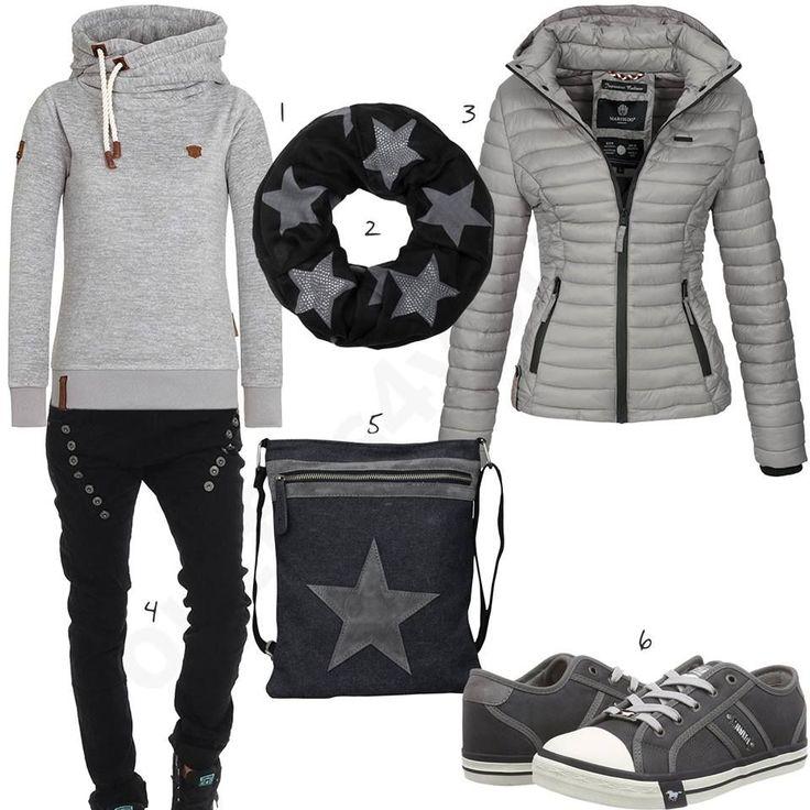 Outfit mit grauer Steppjacke, Hoodie und Mustang Sneakern ...