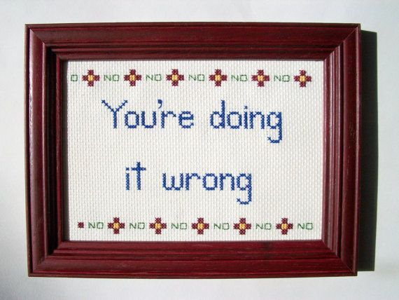 ORIGINAL You're Doing It Wrong cross stitch -- 5x7 framed with flower motif and No No No border on Etsy, $40.00