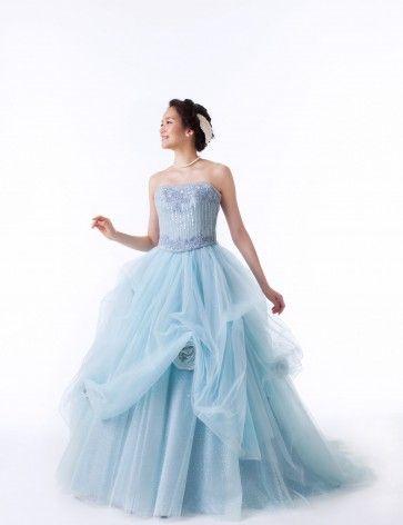 ブルー ビスチェ チャペル チュール レースアップ アップリケ ピックアップスカート ボールガウン カラードレス 結婚式