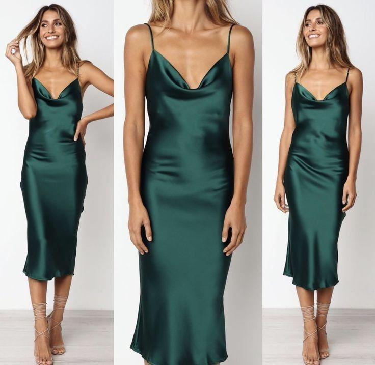 Pin By Yana Shved On Prom Dress In 2020 Green Satin Dress Green Silk Dresses Silk Dress Long