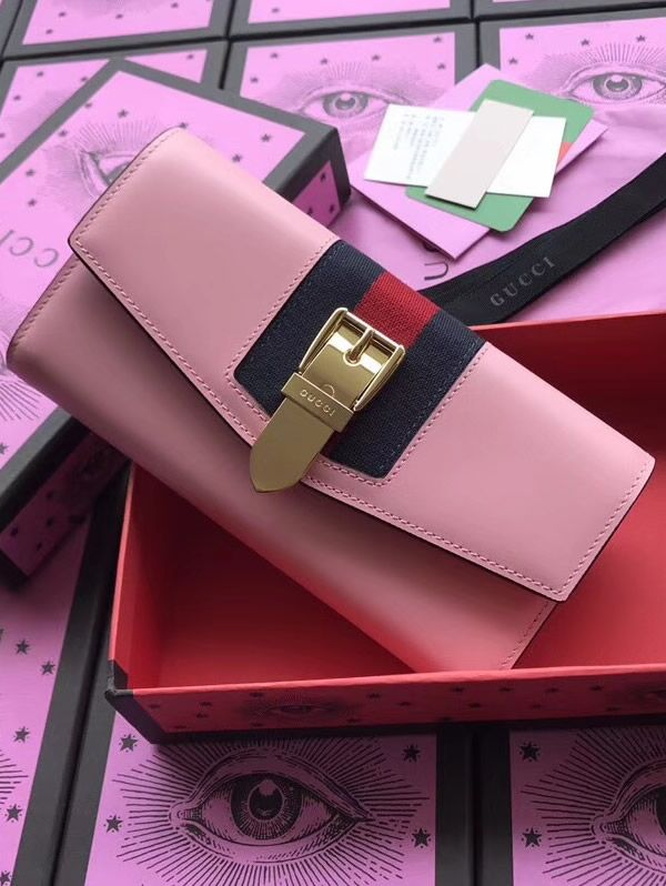 b63147b0856 Gucci Sylvie leather continental wallet Pink was borrowed from the archives  and it is one of