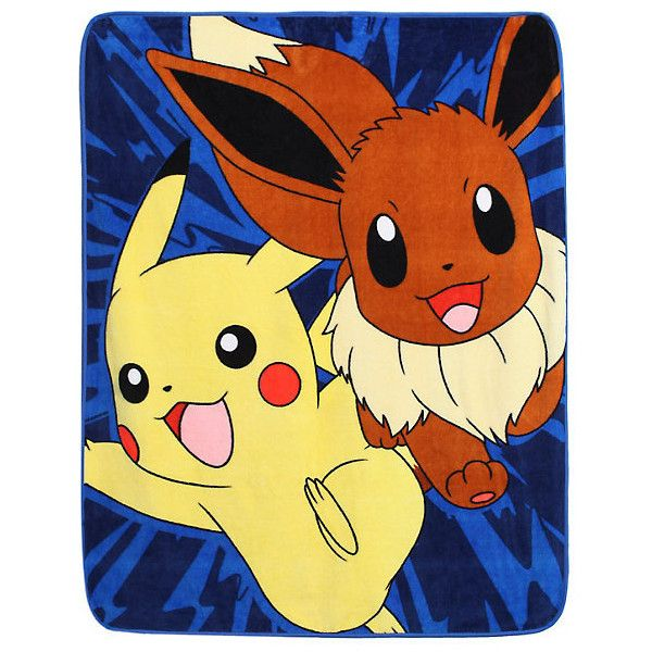 Pokemon Pikachu Eevee Throw Hot Topic ($18) ❤ liked on Polyvore featuring home, bed & bath, bedding, blankets, pokemon throw blanket, polyester throw, pokemon blanket and polyester blanket
