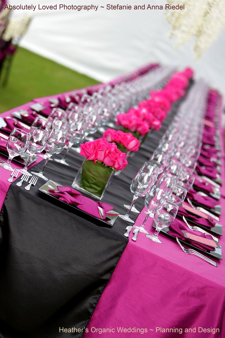206 best pink blush fuchsia hot pink mauve bubblegum loving the long table with black satin runner and multiple short arrangements of fuchsia roses dhlflorist Choice Image