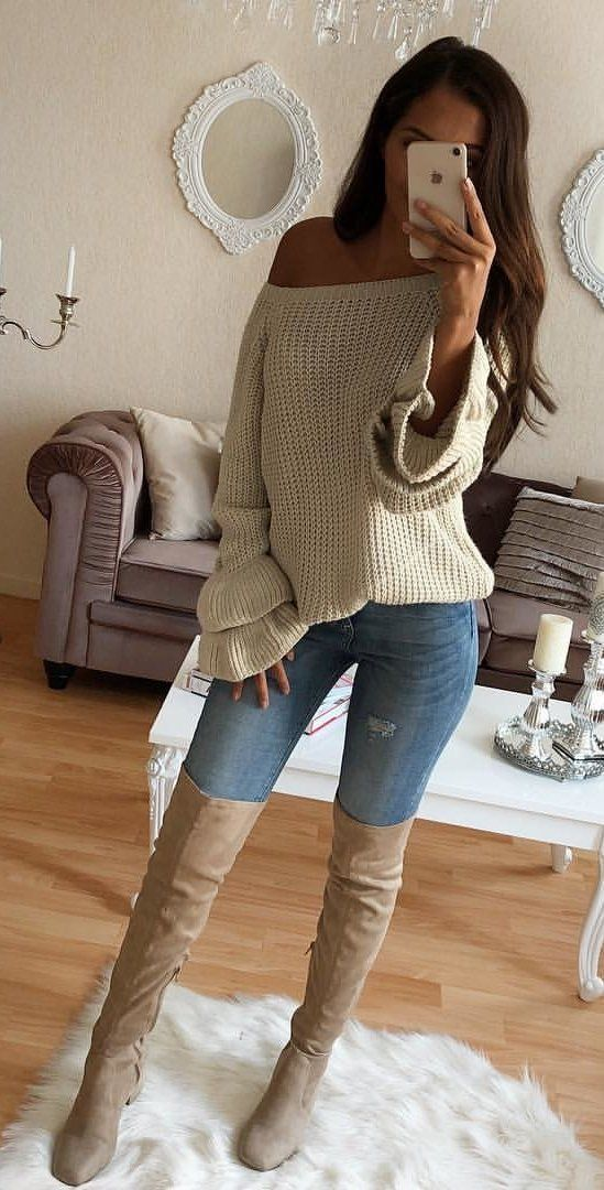 #fall #outfits women's white knit off-shoulder shirt, thigh high brown boots and blue jeans