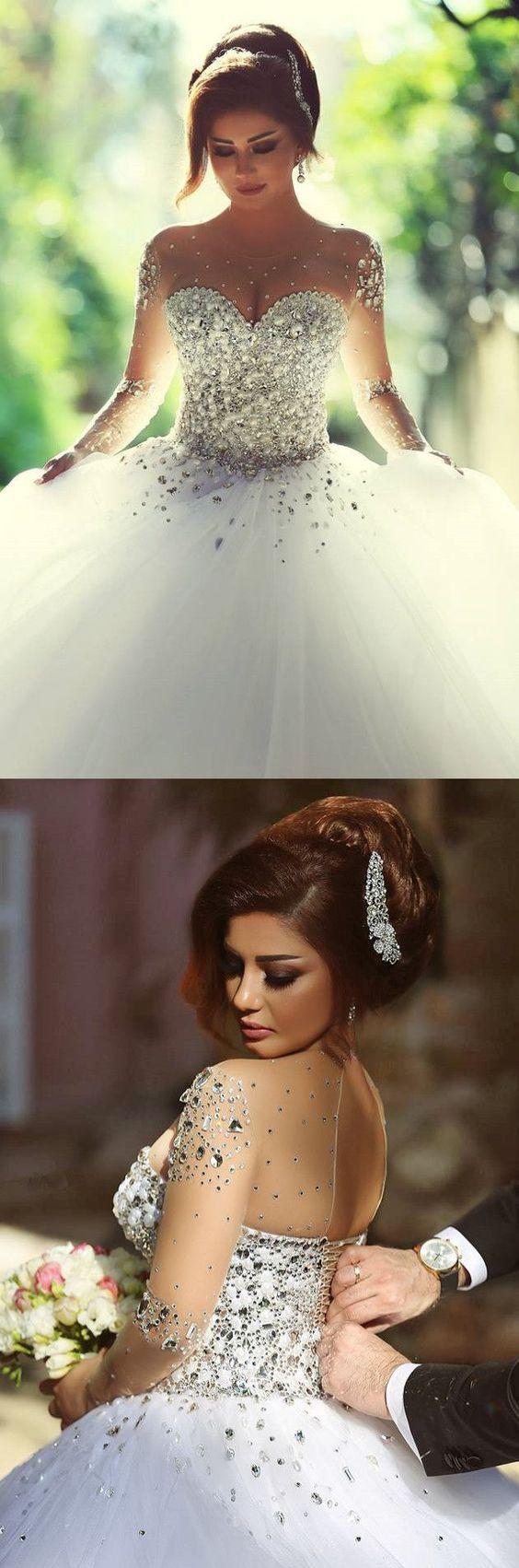 Wedding Dress,Wedding Dresses,Long Sleeve Crystal Ball Gown Wedding Dress,White Bridal Dresses
