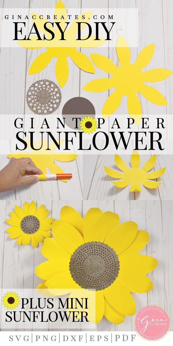 DIY Paper Sunflower with free SVG & template Paper