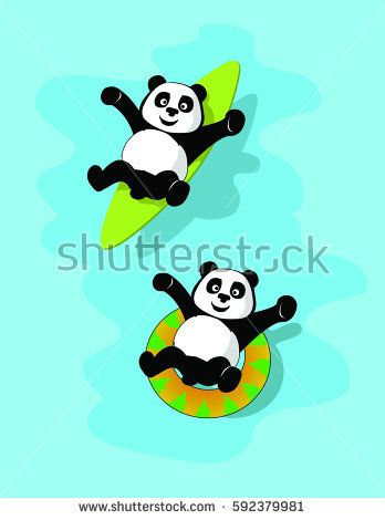 vector, illustration two cute panda with a surfboard on the water