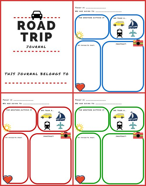 free printable road trip journal for kids
