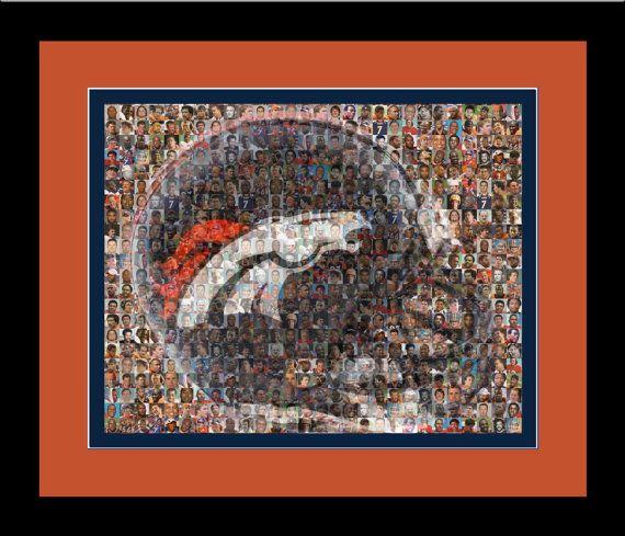 Denver Broncos Player Mosaic Print Art Designed Using Past & Present Player Photos. Handmade by The Mosaic Guy