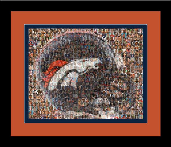 Denver Broncos Player Mosaic Print Art Designed Using Past & Present Player Photos. Handmade by The Mosaic Guy