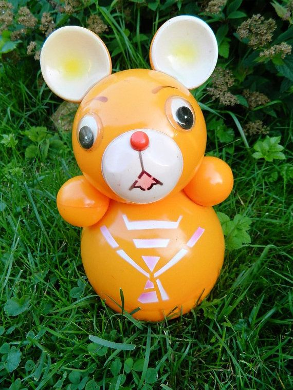 orange celluloid ROLY POLY bear - soviet toy from 70s - made in USSR