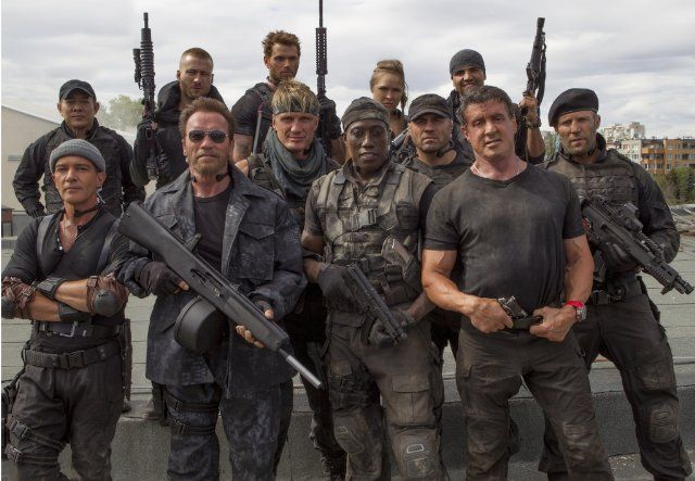 STALLONE'S GANG - Antonio Banderas, Dolph Lundgren, Arnold Schwarzenegger, Wesley Snipes, Jet Li, Jason Statham, Randy Couture, Glen Powell, Kellan Lutz, Ronda Rousey and Victor Ortiz in THE EXPENDABLES 3