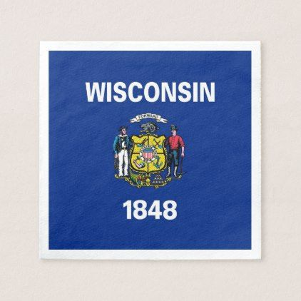 Patriotic paper napkins with Wisconsin flag - coffee custom unique special