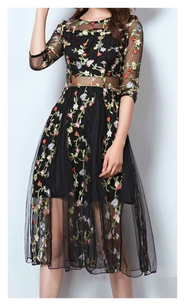 cdd3aed3ddb2 NEW THE ABIGAIL PARTY DRESS Multi Color Floral Embroidery Black Sheer  Midriff Midi Dress MISSES  amp