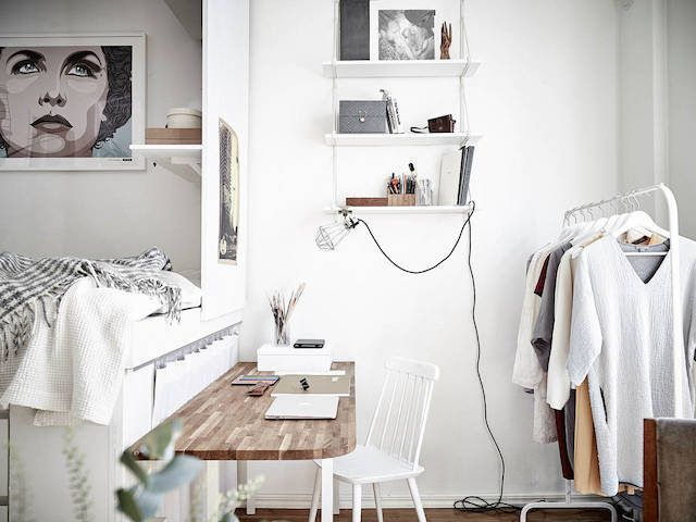 Perfect bed / study / clothes combo for a student dorm or tiny studio flat. Because very small can be very beautiful too.