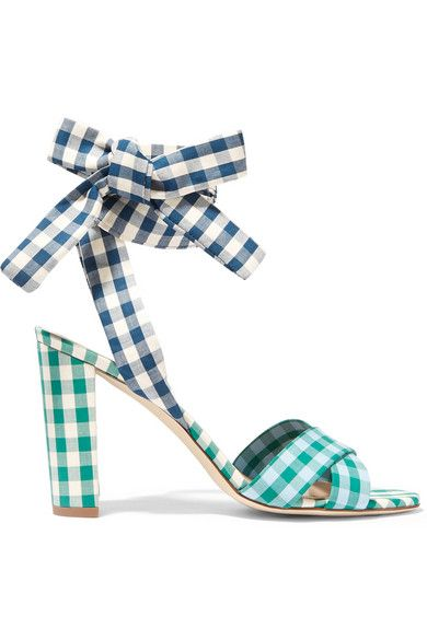 J.Crew's Italian-made 'Charlotte' sandals are crafted in a trio of tonal gingham poplins. This open-toe pair is finished with tie-fastening ankle straps for a customized fit. Wear yours with everything from skirts to cropped jeans.