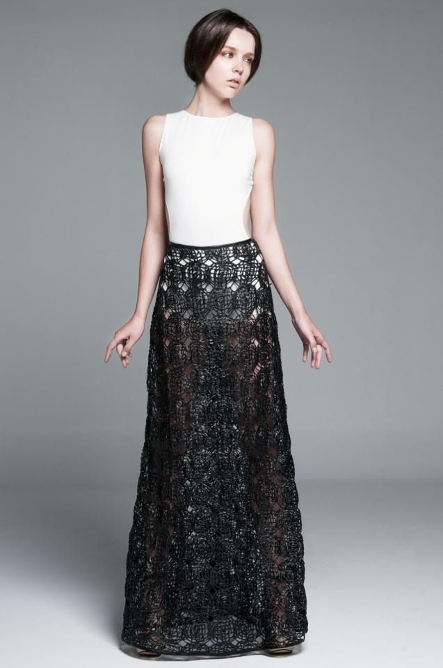 Long skirt with tangled artificial leather