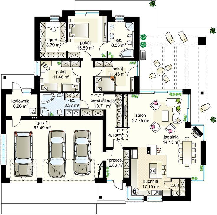Maciejka III NF40 projekt - Parter 155.39 m²  + garaż 52.49 m²