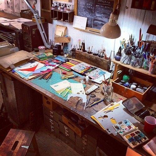 Artist Oliver Jeffers' desk. #studio