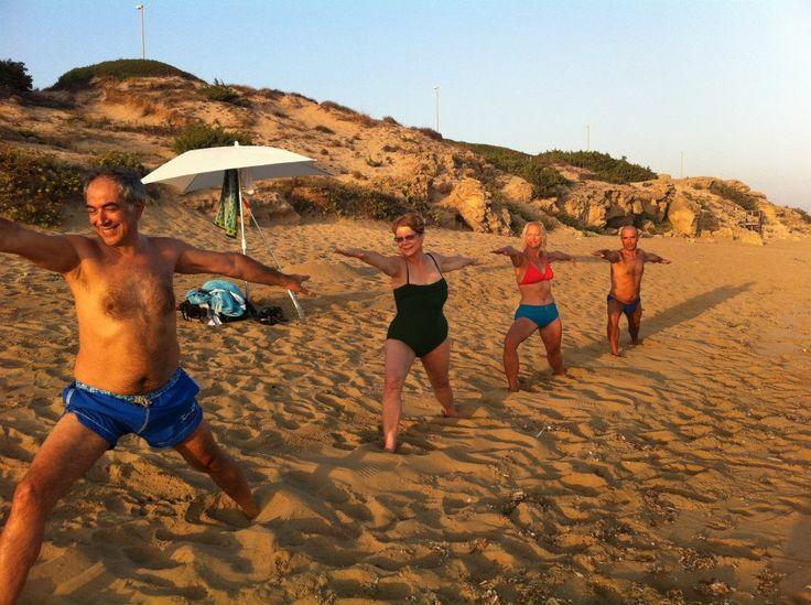 Sunset yoga on the beach!