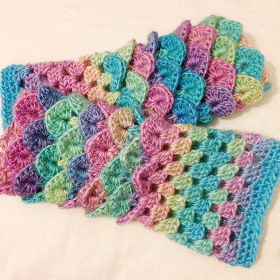Mermaid gloves fingerless gloves arm by DollyDaydreamCrochet