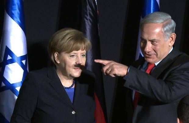 Angela Merkel, Benjamin Netanyahu, and the rather awkward case of the shadow moustache - News - People - The Independent