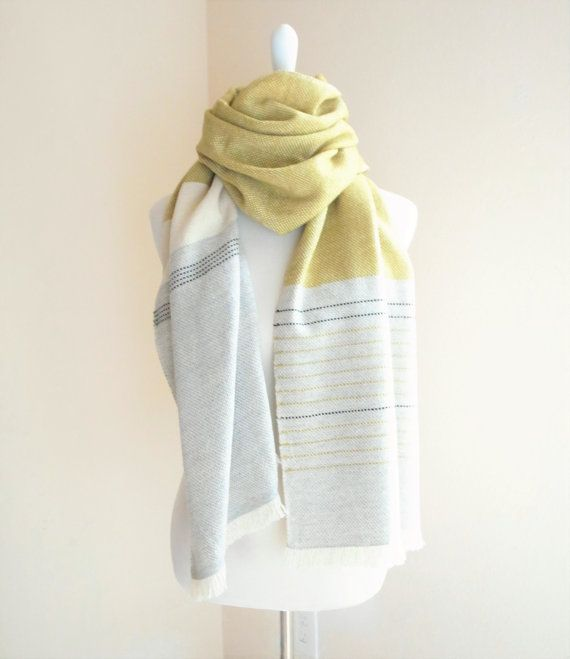 Cashmere Scarf Handwoven Mustard Yellow , off white and Light Gray  Luxurious mix of cashmere, Extrafine merino, silk and Baby alpaca They are all very smooth and soft yarn but if you have very sensitive skin, you may wish to choose other ones. I will be happy to assist you, let me know!  Unisex design  Size 20x 80 (50x 200 cm)  Care instruction Dry clean (recommended) OR Soak in cold/finger warm water with wool detergent, squeeze out water gently and roll it in a towel to dry, finally f...
