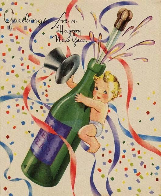 "Vintage postcard..Greetings for a Happy New Year...""Cute""...L.Loe"