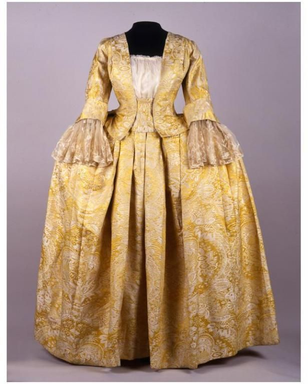 Vintage Wedding Dresses Philadelphia: Wedding Dress: Yellow Brocade With Lace Date 1730 With