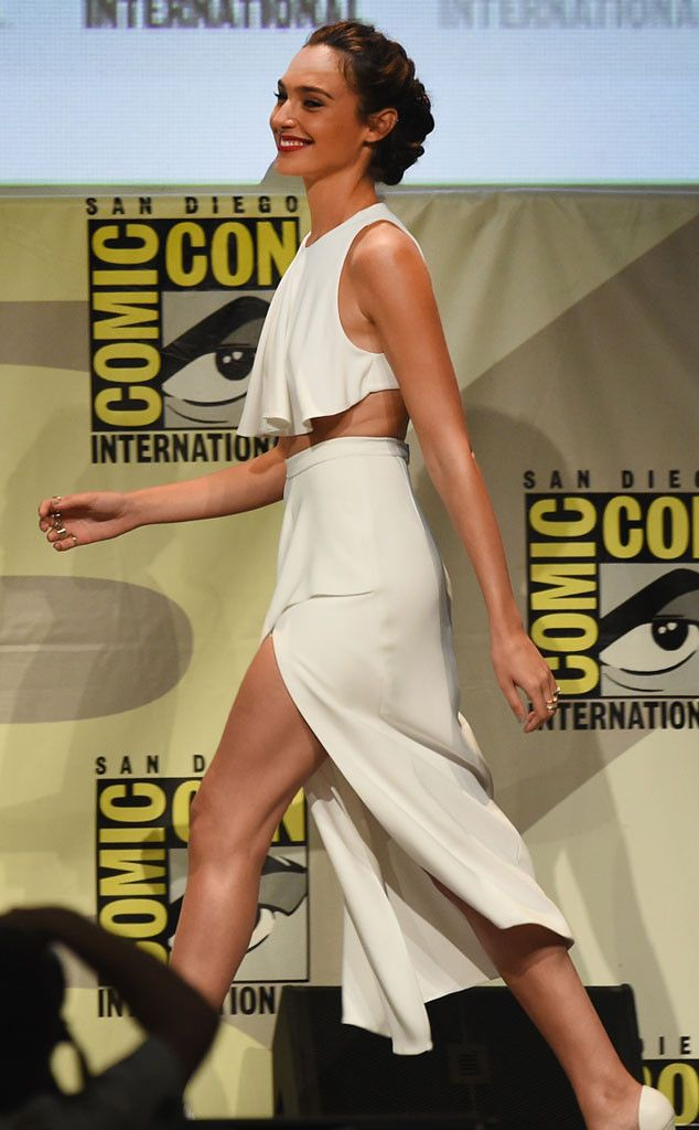 Gal Gadot from Comic-Con 2015: Star Sightings  Israeli actress appears at Warner Bros.' presentation of Batman v Superman. She plays Wonder Woman in the movie.