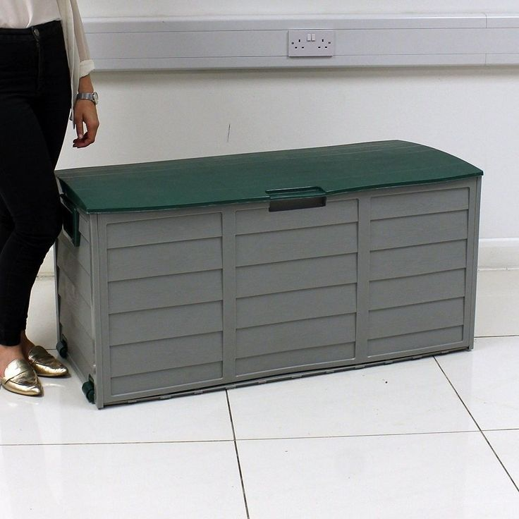 #ebay#Plastic Garden#Storage Box 250L#Wheels#Handles Green Lid#Lockable#Weather#Proof