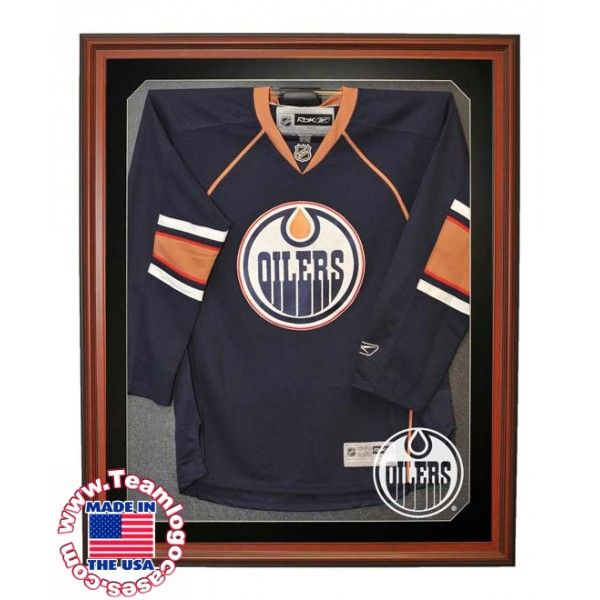 WALL MOUNTED NHL E-Z HOCKEY JERSEY DISPLAY CASE WITH BLACK MATTE. See more: https://www.teamlogocases.com/hockey/jersey-cases/5106