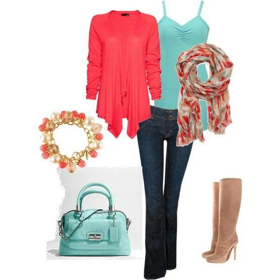 Get in my closet, now!  Neutral navy and tan with accent colors of coral and turquoise (or mint or duck egg blue or Tiffany blue...you get the idea).  This is the color scheme I want for my capsule wardrobe!