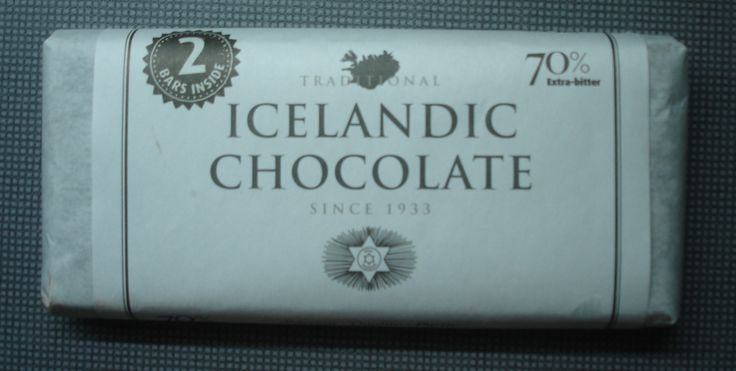 Icelandic chocolate (70%) made with cocoa beans from Ivory Coast.